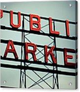 Text Public Market In Red Light Acrylic Print by © Reny Preussker