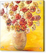 Textured Flowers In A Vase Acrylic Print