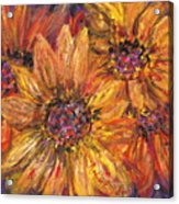 Textured Gold and Red Sunflowers Acrylic Print