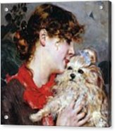 The Actress Rejane And Her Dog Acrylic Print by Giovanni Boldini