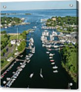 The Aerial View To The Mamaroneck Marina, Westchester County Acrylic Print