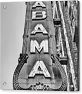 The Alabama Theater in Black and White Acrylic Print