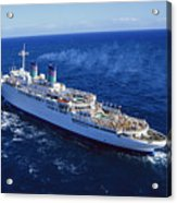 The American Hawaii Cruise Ship Leaving Acrylic Print by Maria Stenzel