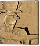 The Ancient Egyptian God Horus Sculpted On The Wall Of The First Pylon At The Temple Of Edfu Acrylic Print by Sami Sarkis