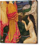 The Angel Offering The Fruits Of The Garden Of Eden To Adam And Eve Acrylic Print by JBL Shaw