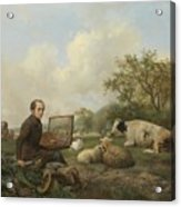 The Artist Painting A Cow In A Meadow, 1850 Acrylic Print