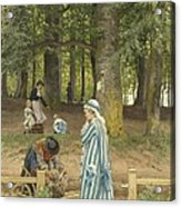The Artist's Wife And Daughters In A Park At Heringsdorf Acrylic Print