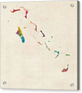 The Bahamas Watercolor Map Acrylic Print