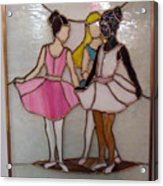 The Ballet Dancers In Stained Glass Acrylic Print by Arlene  Wright-Correll