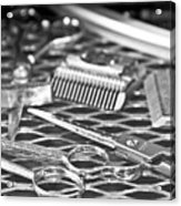 The Barber Shop 10 Bw Acrylic Print by Angelina Vick