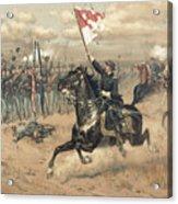 The Battle Of Cedar Creek Virginia Acrylic Print by Thure de Thulstrup