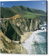 The Beach And Shoreline Along Highway 1 Acrylic Print by Phil Schermeister