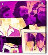 The Beatles Collage Bright Fuchsia Colors  Acrylic Print