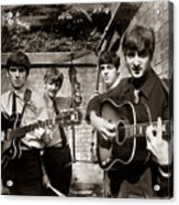 The Beatles In London 1963 Sepia Painting Acrylic Print