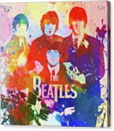 The Beatles Paint Splatter  Acrylic Print