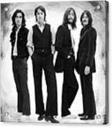 The Beatles Painting Late 1960s Early 1970s Black And White Acrylic Print