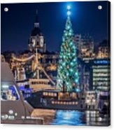 The Beautiful, Freshly Renovated Katarina Church And The Gigantic Christmas Tree In Stockholm Acrylic Print