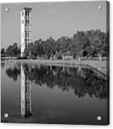 The Bell Tower Reflections B W Furman University Greenville South Carolina Art Acrylic Print