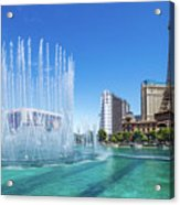 The Bellagio Fountains In Front Of The Eiffel Tower 2 To 1 Ratio Acrylic Print