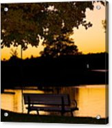 The Bench By The Lake Acrylic Print by Danielle Allard