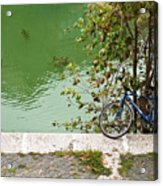 The Bicycle Is A Ubiquitous Form Of Transport In Europe And This Owner Has Literally Gone Fishing. Acrylic Print
