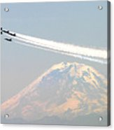 The Blue Angels Over Mount Rainier Seattle Acrylic Print