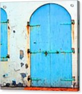 The Blue Door Shutters Acrylic Print