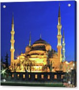The Blue Mosque At Night Istanbul Turkey Acrylic Print