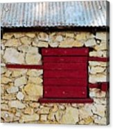 The Boarded Red Window Acrylic Print