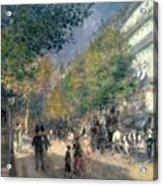 The Boulevards  Acrylic Print by Pierre Auguste Renoir