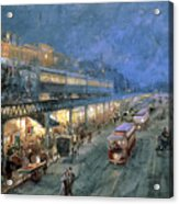 The Bowery At Night Acrylic Print by William Sonntag