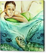 The Boy And The Turtle Acrylic Print