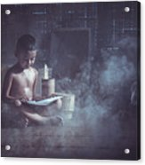 The Boy Reads A Book In The House With Kuan Acrylic Print