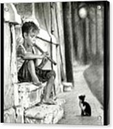 The Boy The Cat And A Flute Acrylic Print