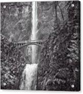 The Bridge At Multnomah Falls In Black And White Acrylic Print