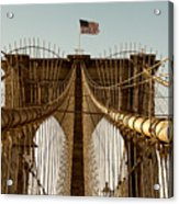 The Brooklyn Bridge Flag Acrylic Print