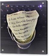 The Bucket List Acrylic Print