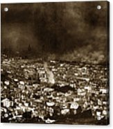 The Burning Of San Francisco Panoramic View Of San Francisco From Twin Peaks April 1906 Acrylic Print