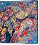 The Butterflies On Blue Acrylic Print
