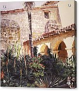 The Cactus Courtyard - Mission Santa Barbara Acrylic Print by David Lloyd Glover