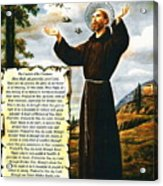 The Canticle Of The Creatures By St. Francis Of Assisi Acrylic Print