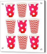 the Card with Red paper disposable glass in polka dot and zigzag isolated on white with copy space Acrylic Print