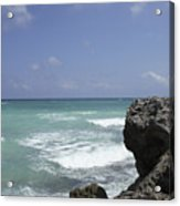The Caribbean Sea Is Seen From A Rocky Acrylic Print