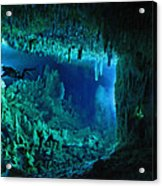 The Cascade Room Leads Divers Deeper Acrylic Print by Wes C. Skiles