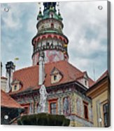 The Cesky Krumlov Castle Tower With A Fountain Below Within The Czech Republic Acrylic Print