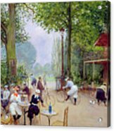The Chalet Du Cycle In The Bois De Boulogne Acrylic Print by Jean Beraud