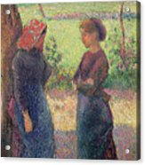 The Chat Acrylic Print by Camille Pissarro