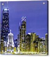 The Chicago Skyline Night-panoramic-001 Acrylic Print