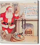 The Christmas Spirit Vintage Card Santa Next To Fireplace Acrylic Print