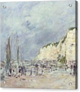 The Cliffs At Dieppe And The Petit Paris Acrylic Print by Eugene Louis Boudin